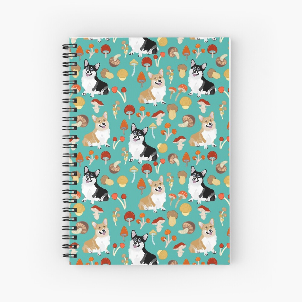 Corgis In Mushroom Fall Forest - Turquoise Spiral Notebook
