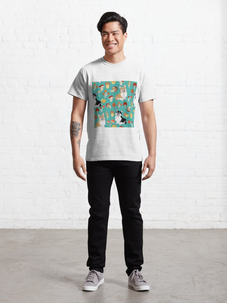 Alternate view of Corgis In Mushroom Fall Forest - Turquoise Classic T-Shirt