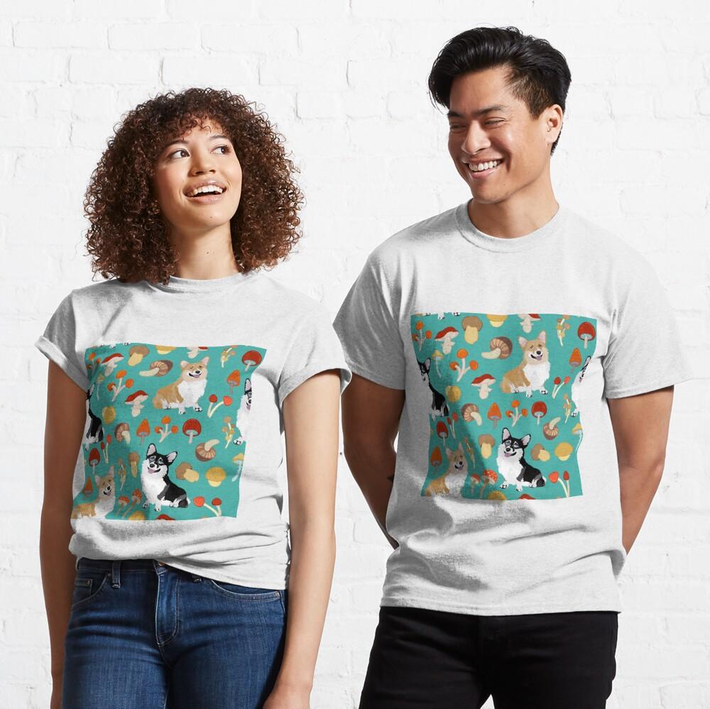 Corgis In Mushroom Fall Forest - Turquoise Classic T-Shirt