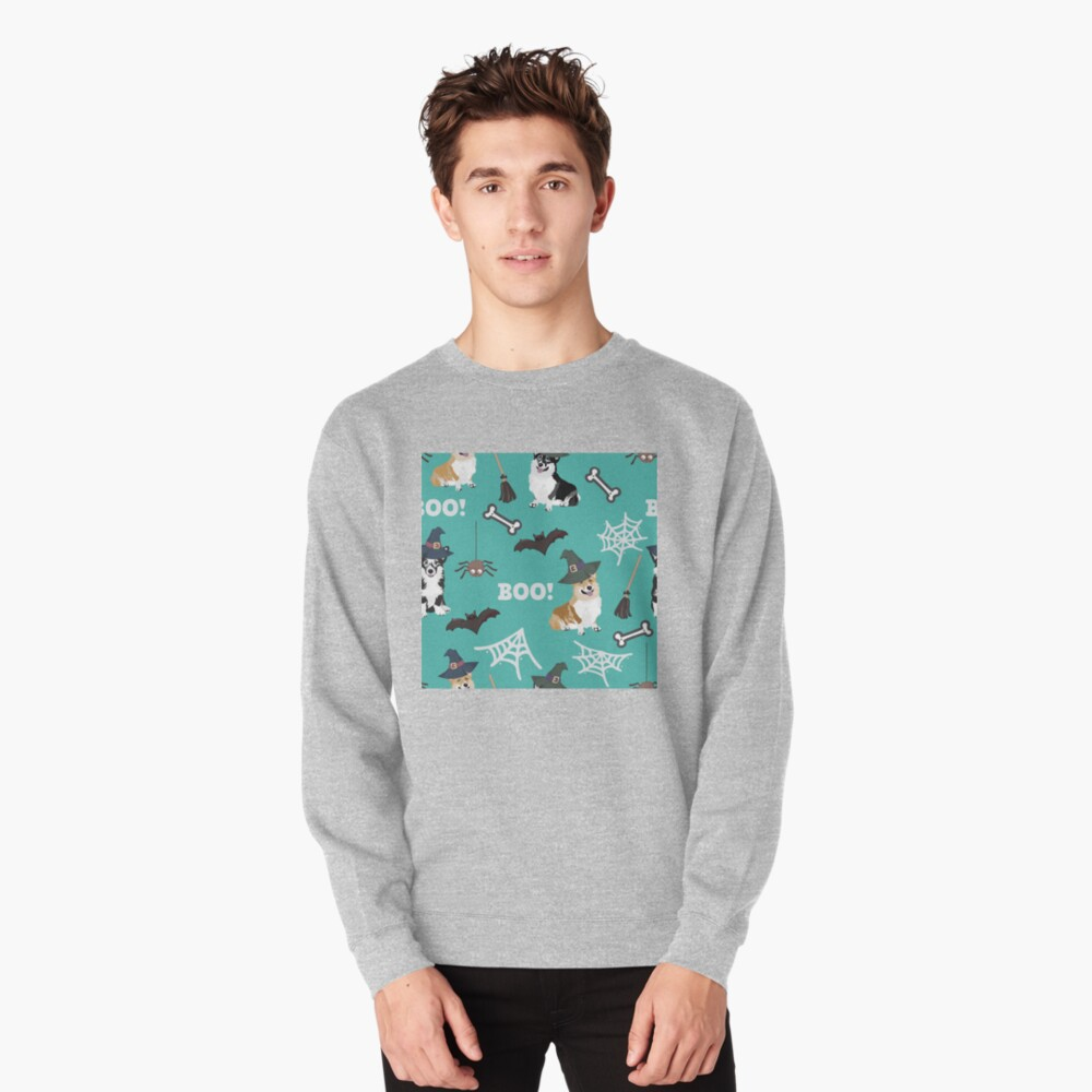 Corgis Celebrate Halloween - BOOOOO - turquoise  Pullover Sweatshirt