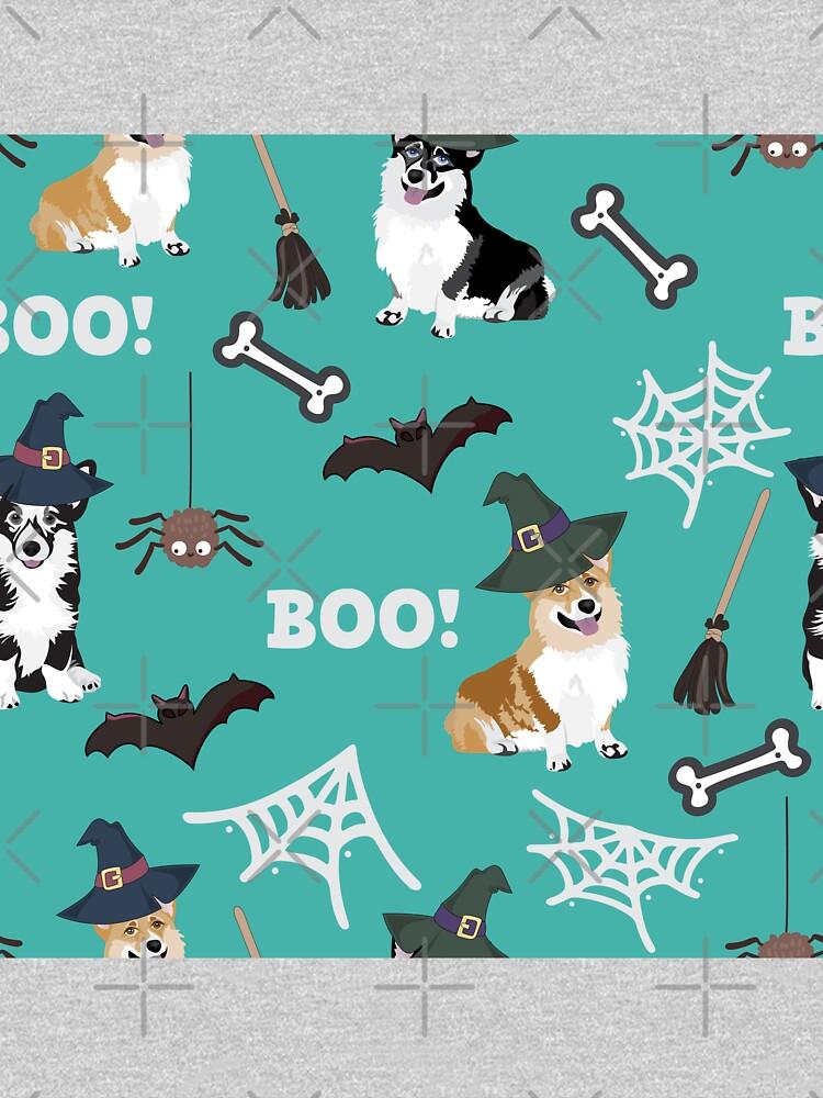 Corgis Celebrate Halloween - BOOOOO - turquoise  by Corgiworld