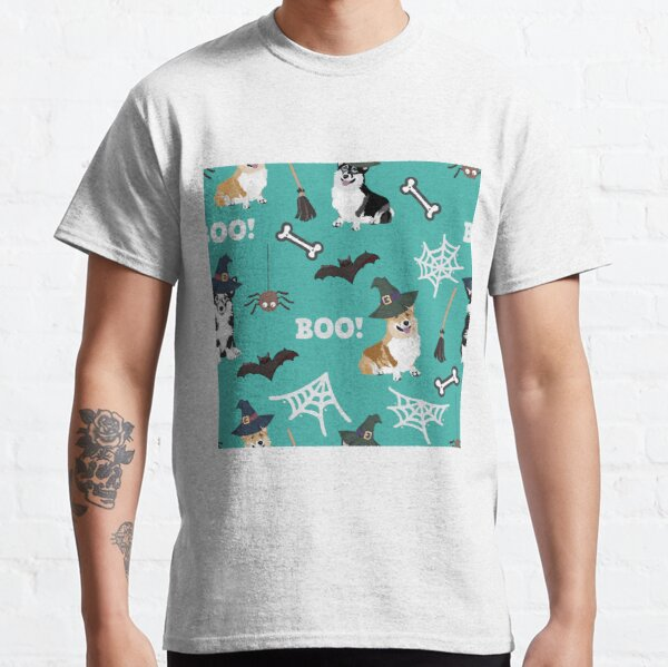 Corgis Celebrate Halloween - BOOOOO - turquoise  Classic T-Shirt