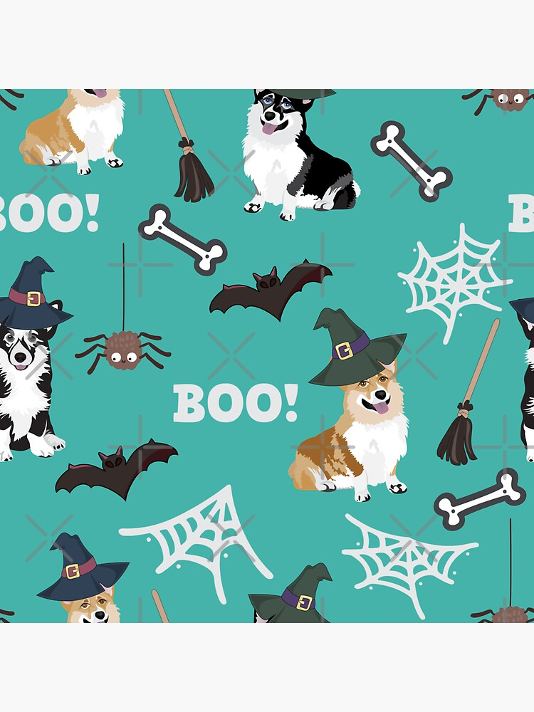 Corgis Celebrate Halloween - BOOOOO - turquoise  by Corgiworld