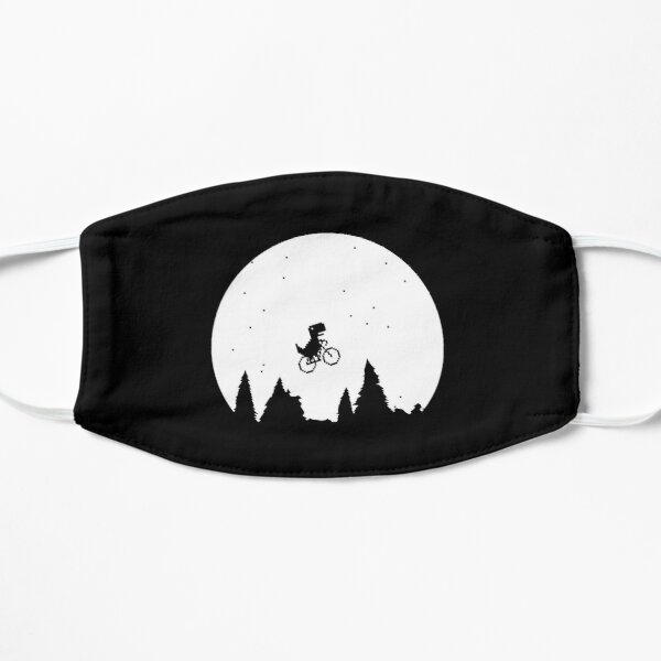 Extraterrestial T Rex on a bike in front of the moon Flat Mask