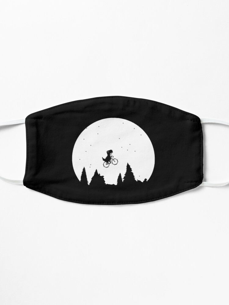 Alternate view of Extraterrestial T Rex on a bike in front of the moon Mask