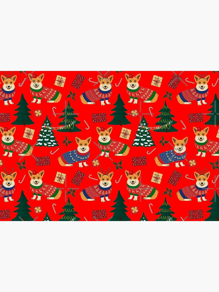 Merry Corgmess - Corgi Christmas Pattern - red by Corgiworld
