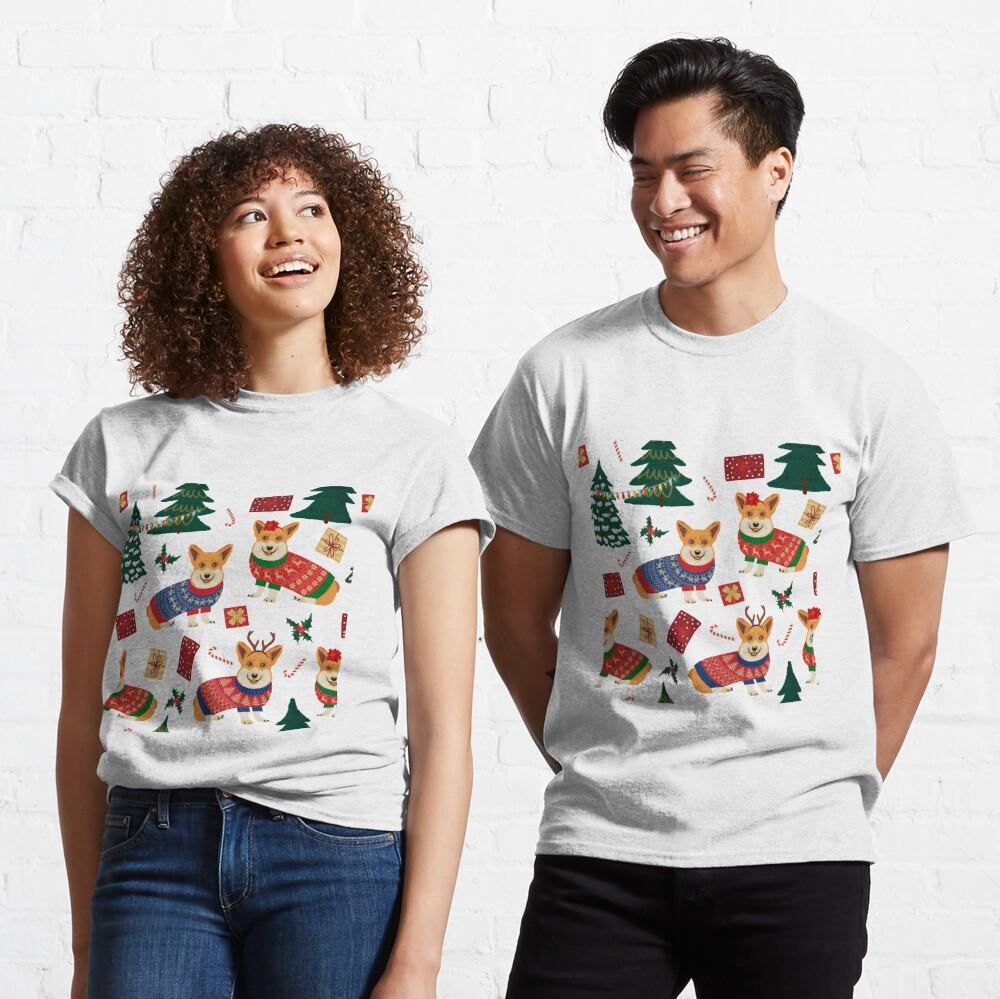Merry Corgmess - Corgi Christmas Pattern - red Classic T-Shirt