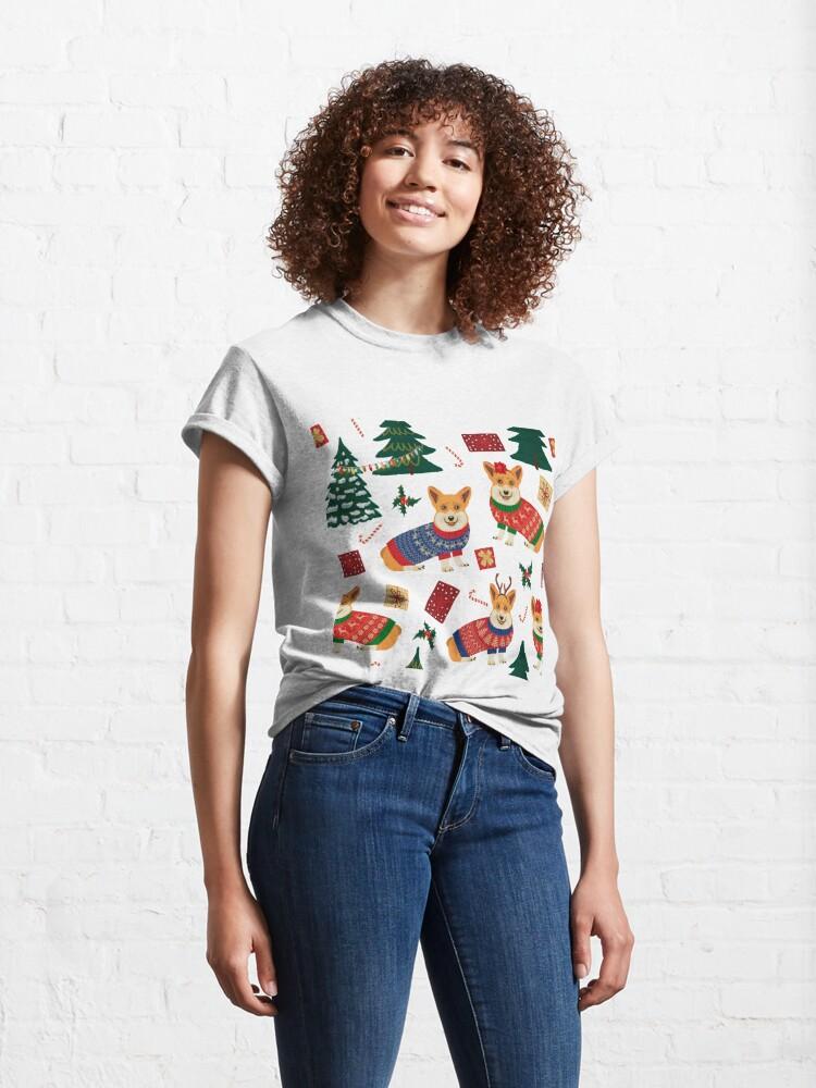 Alternate view of Merry Corgmess - Corgi Christmas Pattern - red Classic T-Shirt