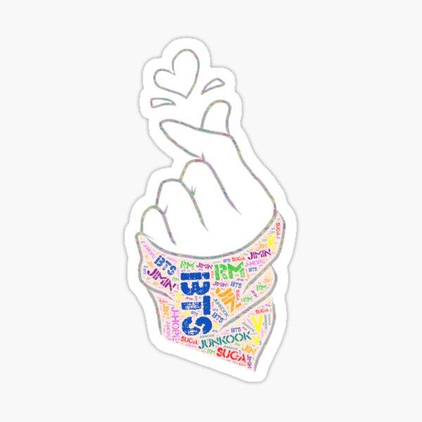 Kpop Doigt Cœur T-shirt Tee funny kawaii mignon japonais graphique K-Pop Line Art