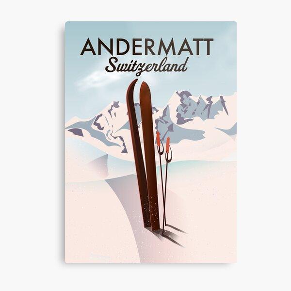 Andermatt Switzerland ski poster Metal Print