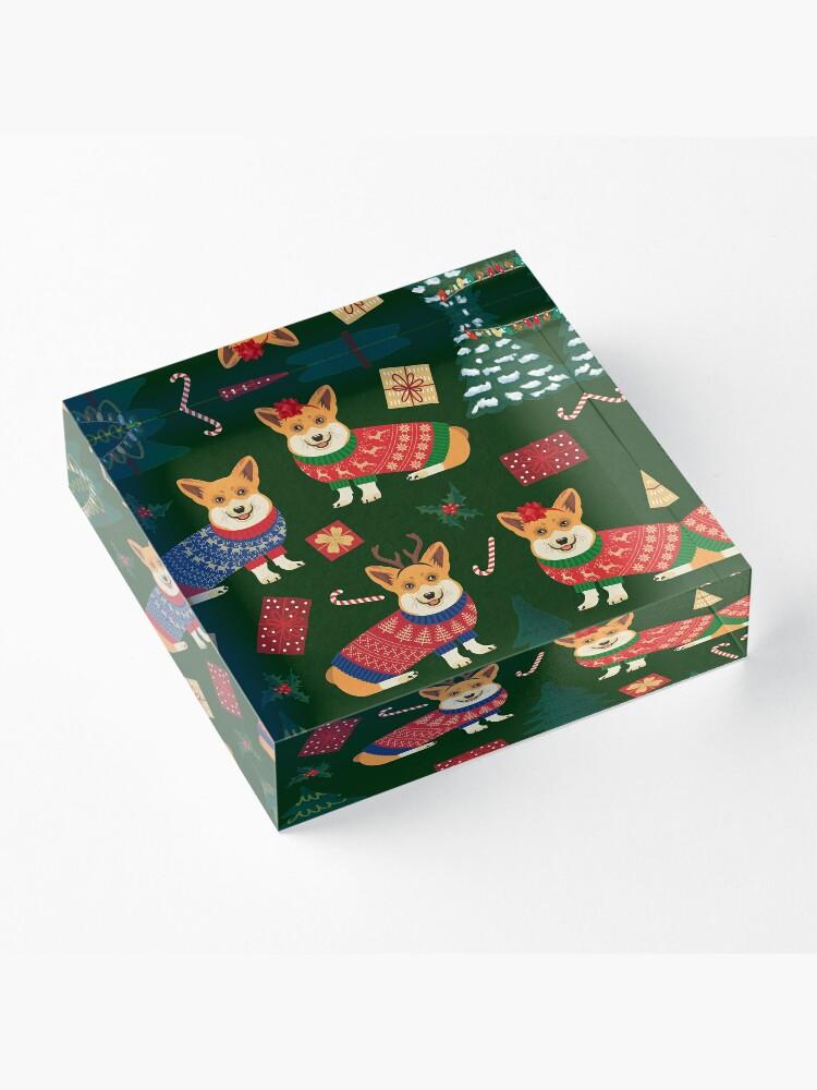 Alternate view of Merry Corgmess - Corgi Christmas Pattern - green Acrylic Block