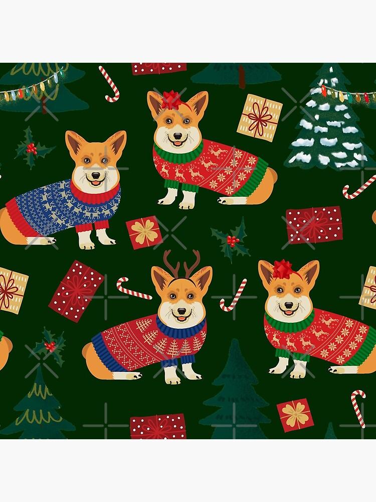 Merry Corgmess - Corgi Christmas Pattern - green by Corgiworld