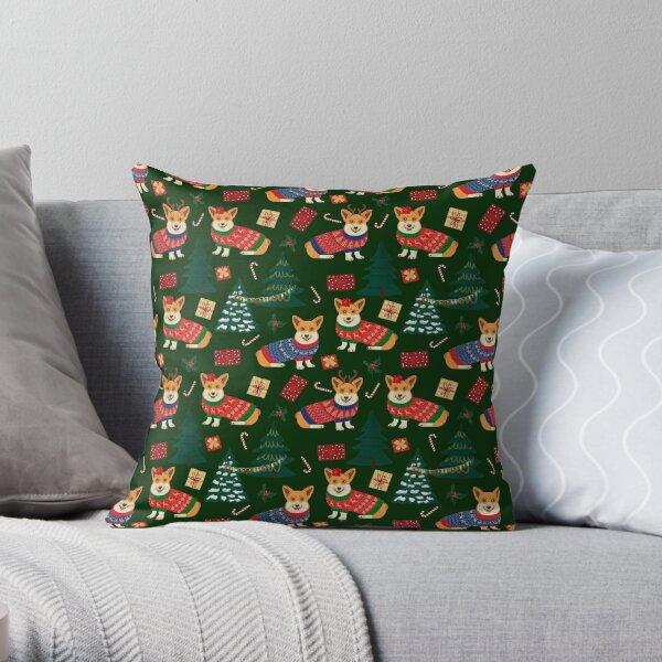Merry Corgmess - Corgi Christmas Pattern - green Throw Pillow
