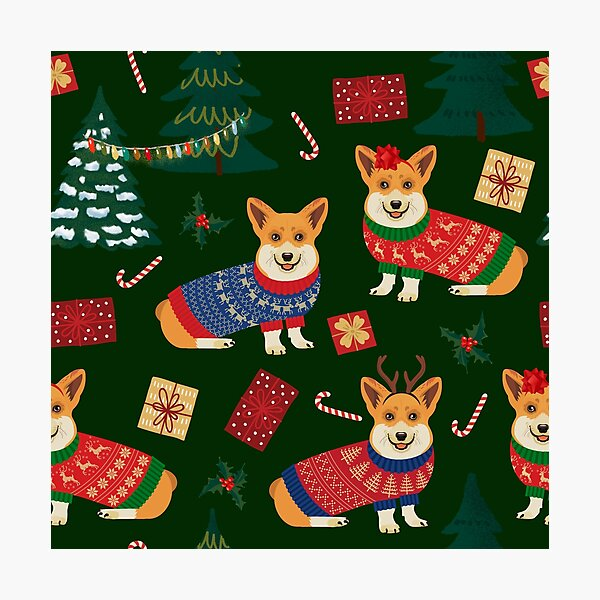 Merry Corgmess - Corgi Christmas Pattern - green Photographic Print