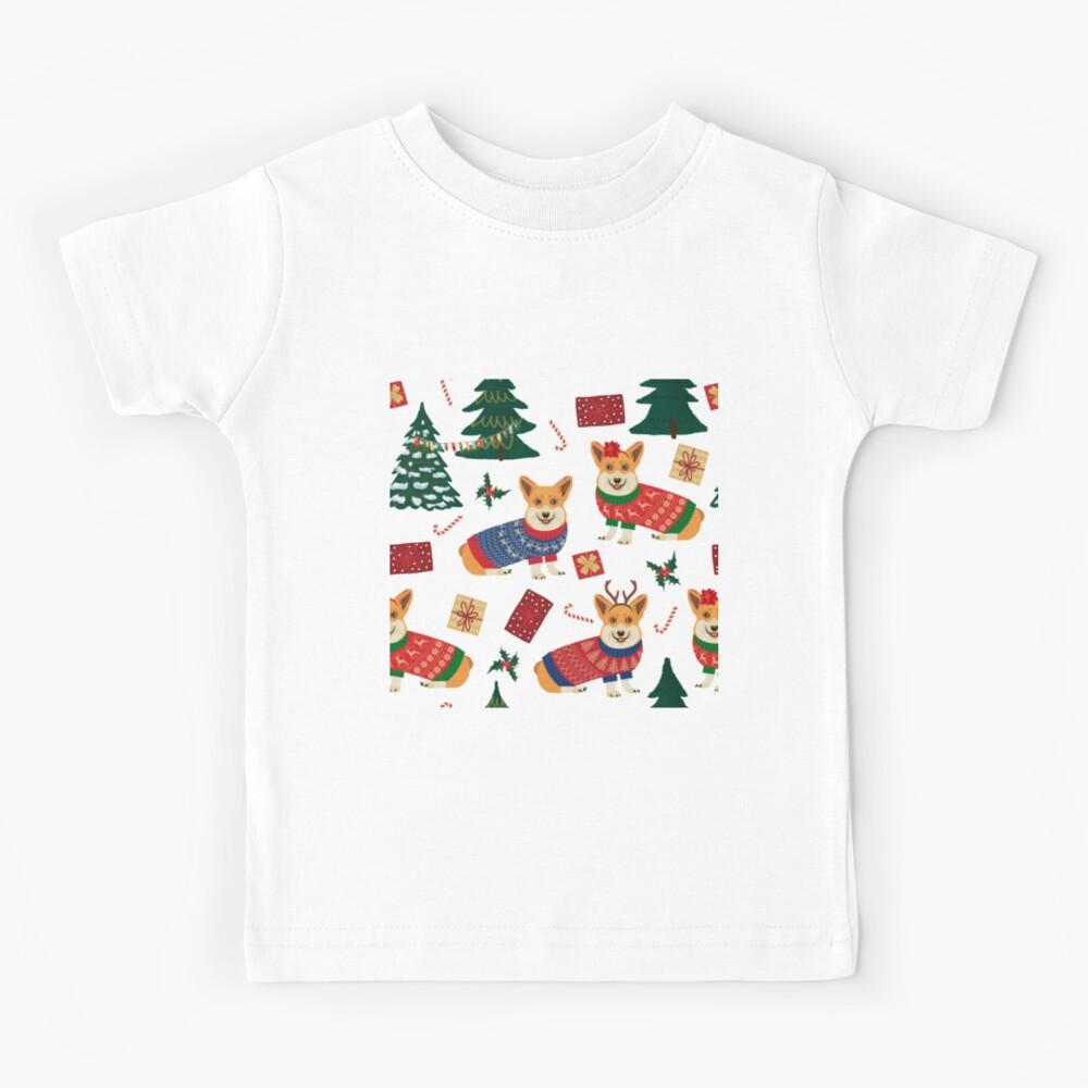 Merry Corgmess - Corgi Christmas Pattern - green Kids T-Shirt