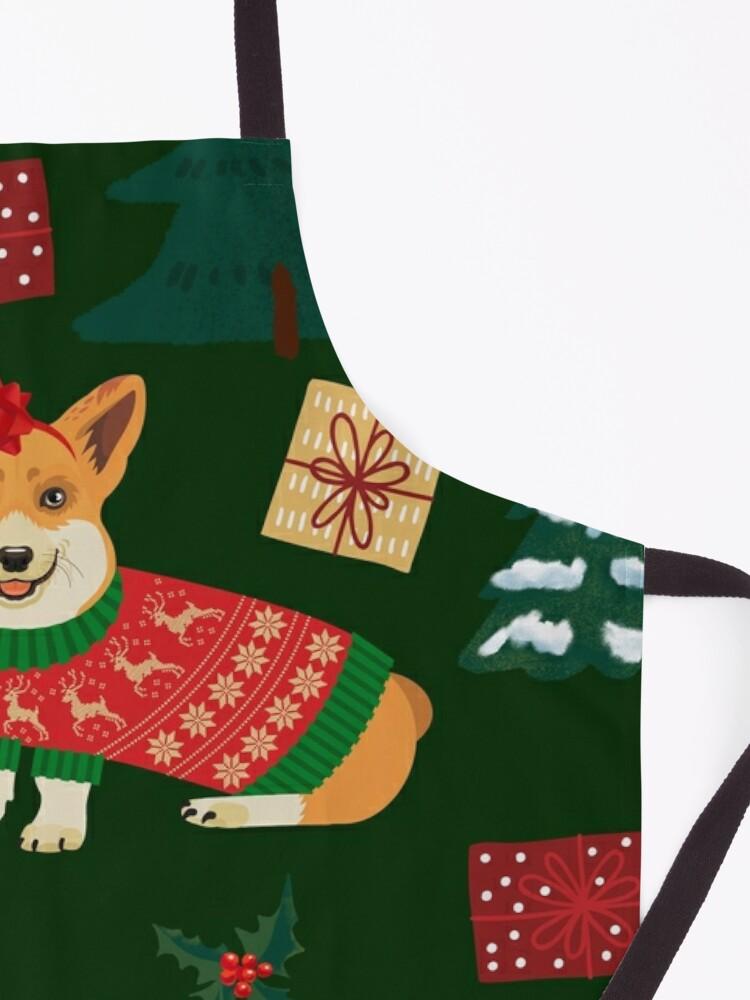 Alternate view of Merry Corgmess - Corgi Christmas Pattern - green Apron