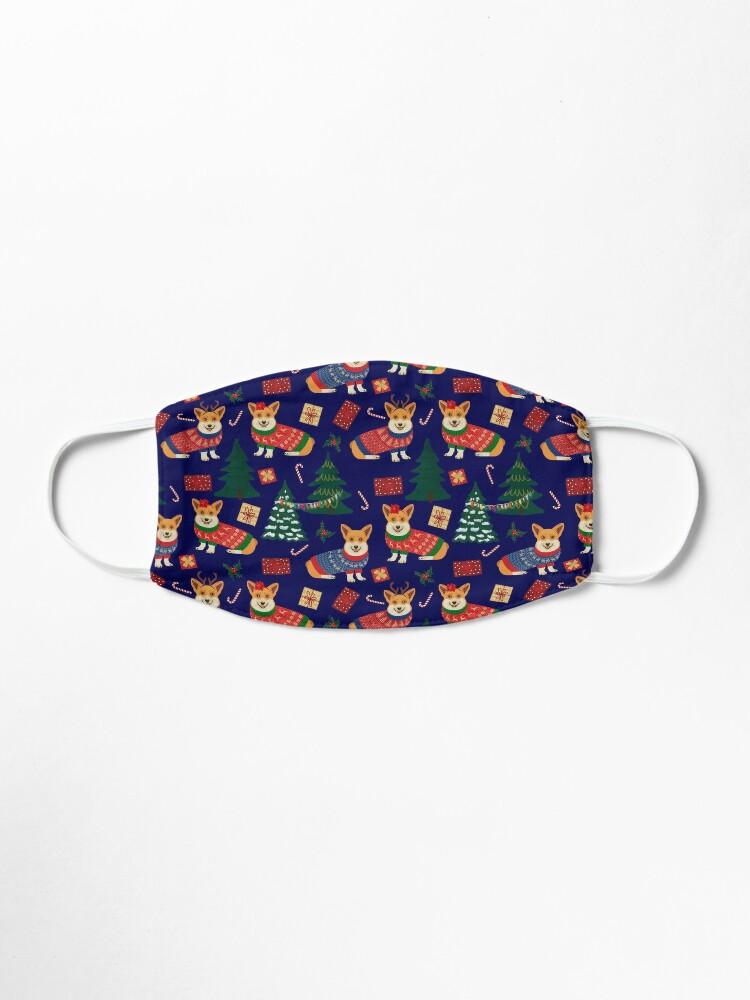 Alternate view of Merry Corgmess - Corgi Christmas Pattern - blue Mask