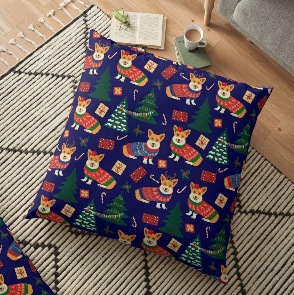 Merry Corgmess - Corgi Christmas Pattern - blue Floor Pillow