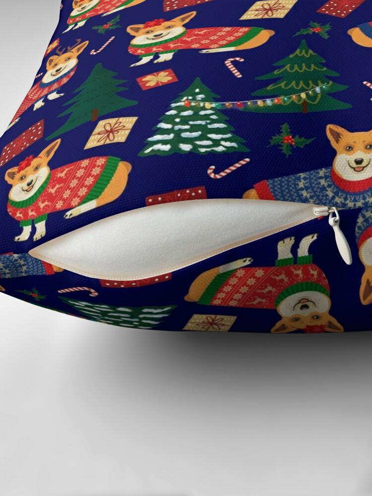 Alternate view of Merry Corgmess - Corgi Christmas Pattern - blue Floor Pillow