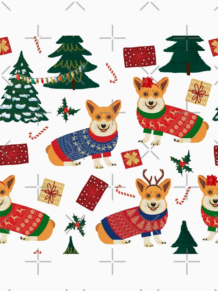 Merry Corgmess - Corgi Christmas Pattern - white by Corgiworld