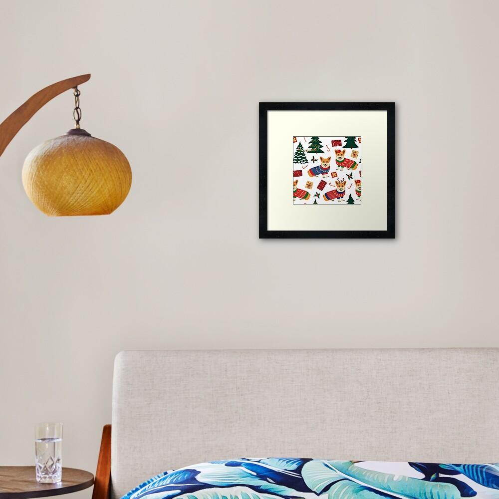 Merry Corgmess - Corgi Christmas Pattern - white Framed Art Print