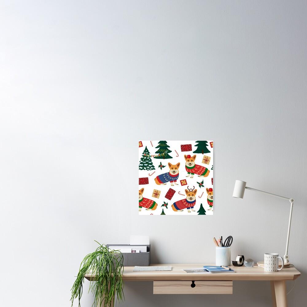 Merry Corgmess - Corgi Christmas Pattern - white Poster