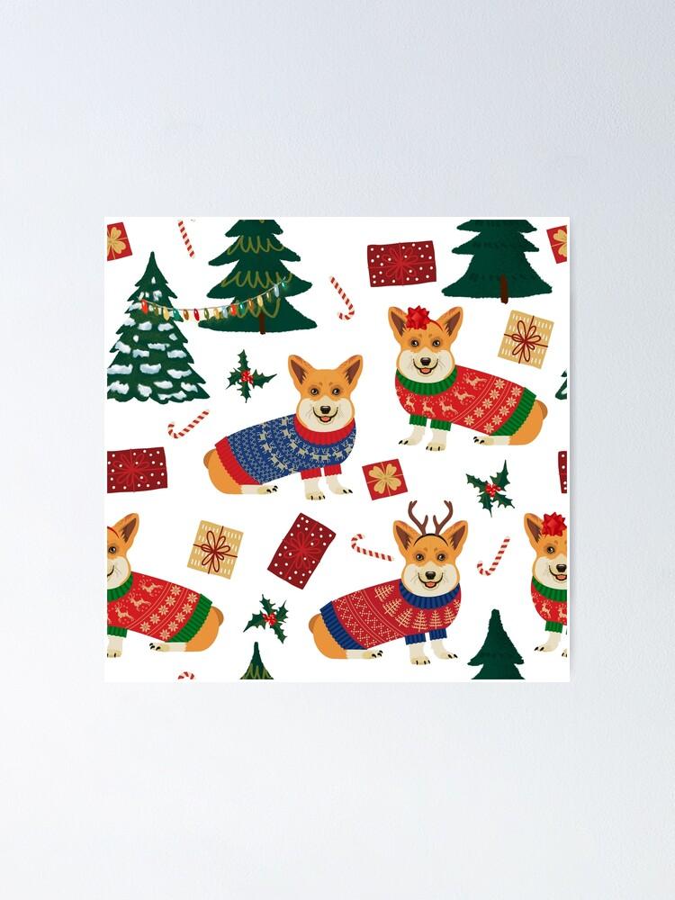 Alternate view of Merry Corgmess - Corgi Christmas Pattern - white Poster