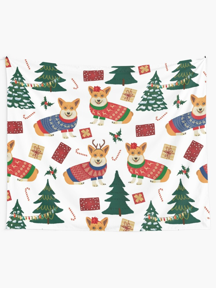 Alternate view of Merry Corgmess - Corgi Christmas Pattern - white Tapestry