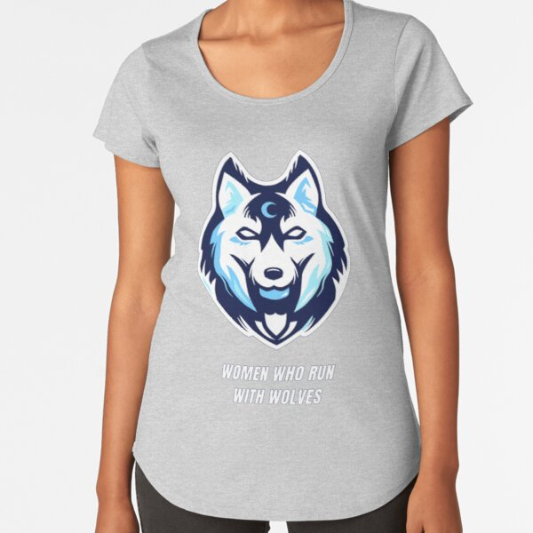 Woman who run with wolves blue background Premium Scoop T-Shirt