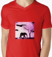 lone Elephant Mens V-Neck T-Shirt