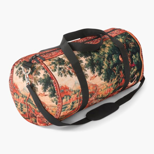 WILD ANIMALS, BIRDS AND WATERFALLS IN WOODLAND Picturesque Flemish Tapestry in Antique Red Green  Duffle Bag