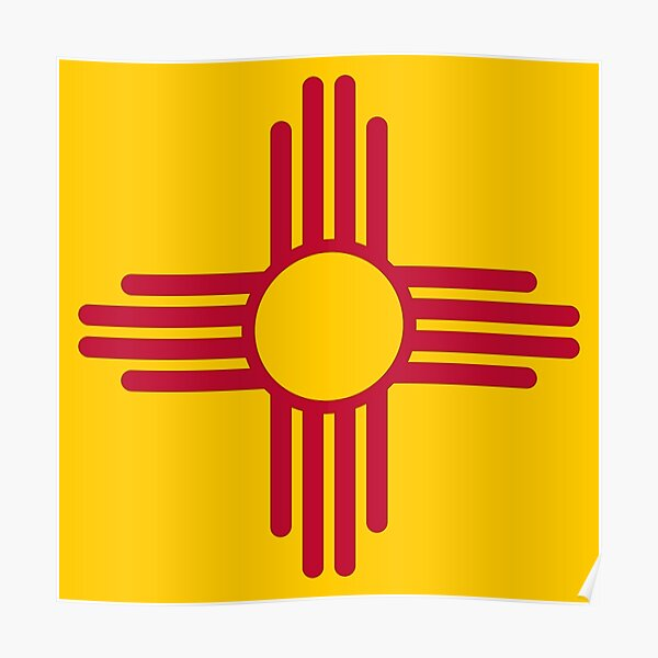 State Flag of New Mexico, USA - Zia Sun Symbol Poster
