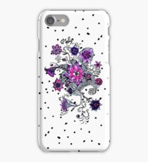 Hand painted watercolor pink purple floral dots iPhone Case/Skin