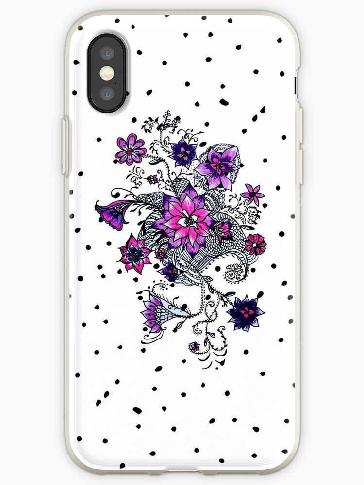 Hand painted watercolor pink purple floral dots by Maria Fernandes