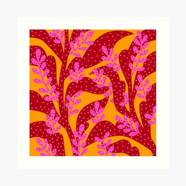 Orange Pink Flora Art Print