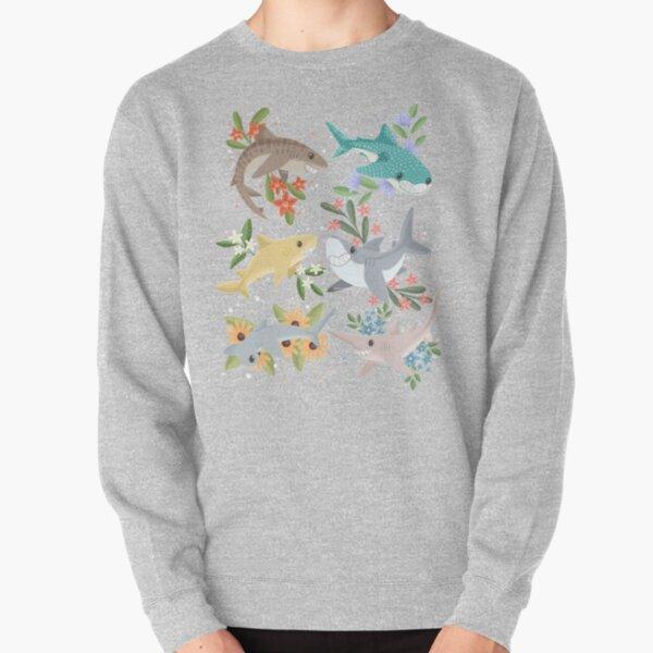 Floral Sharks Pullover Sweatshirt