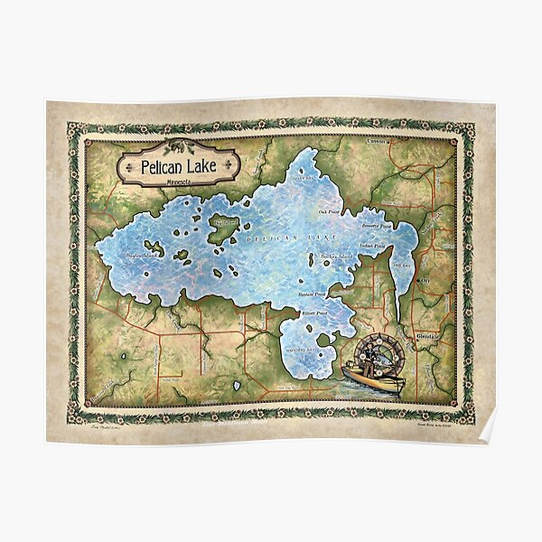 Pelican Lake map Minnesota map art Lisa Middleton Maps wholesale and hand paintings Poster