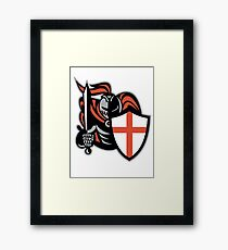 English Knight With Sword England Shield Retro Framed Print