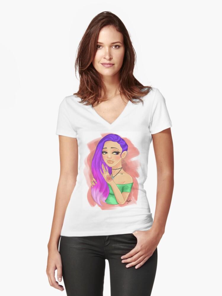 oc - Khaleesi Women's Fitted V-Neck T-Shirt Front