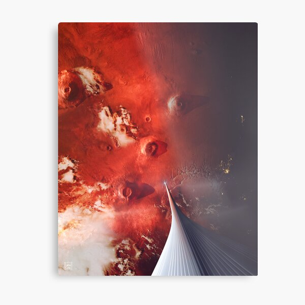 The Space Elevator to Mars - Descent At Dusk Metal Print