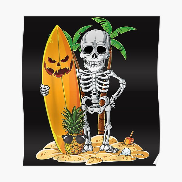 Esqueleto Surf Regalos de Halloween Hawaii Póster