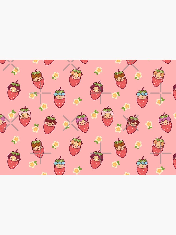 BTS Strawberry Patch PINK ~Pouches & Pillows~   by MikaBees