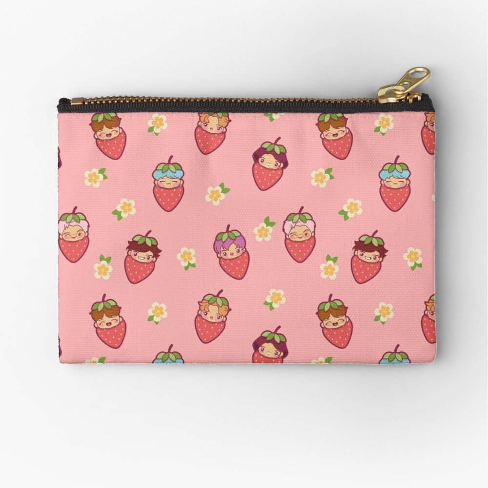 BTS Strawberry Patch PINK ~Pouches & Pillows~   Zipper Pouch