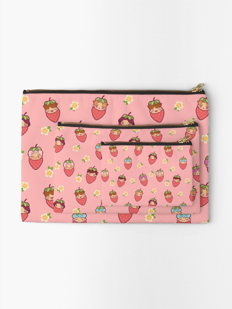 Alternate view of BTS Strawberry Patch PINK ~Pouches & Pillows~   Zipper Pouch