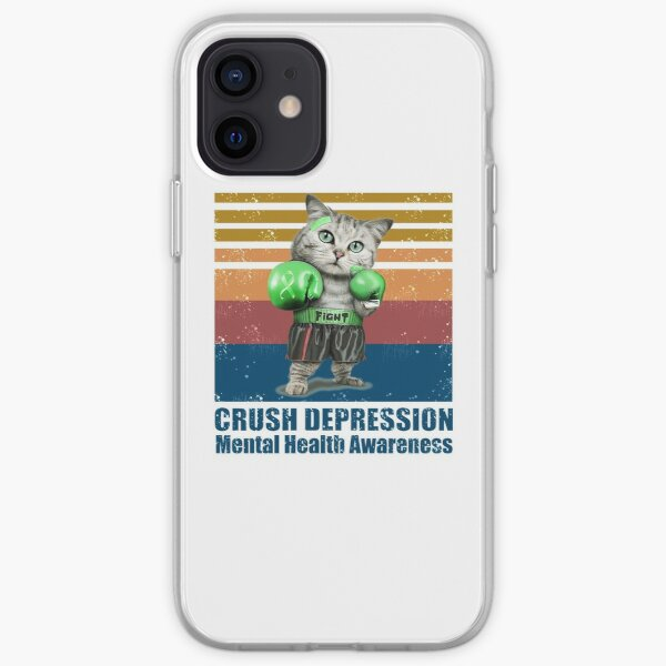 CAT BOXING FIGHT CRUSH DEPRESSION MENTAL HEALTH AWARENESS VINTAGE  iPhone Soft Case