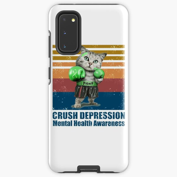 CAT BOXING FIGHT CRUSH DEPRESSION MENTAL HEALTH AWARENESS VINTAGE  Samsung Galaxy Tough Case