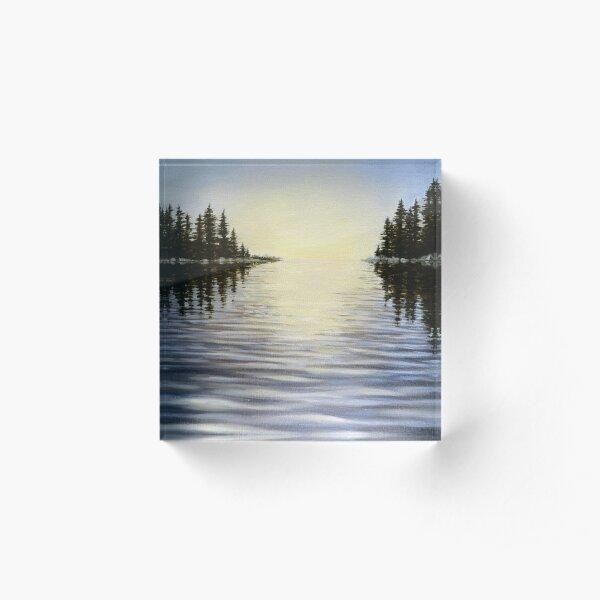 Signal - lake landscape painting Acrylic Block
