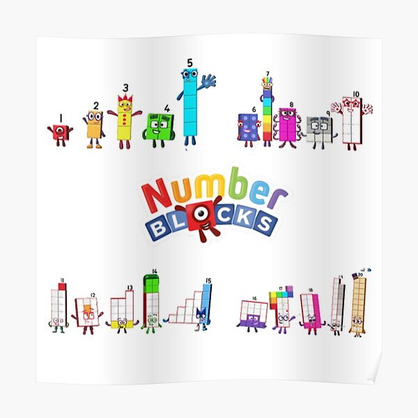 Number blocks numbers 1 to 20 Poster