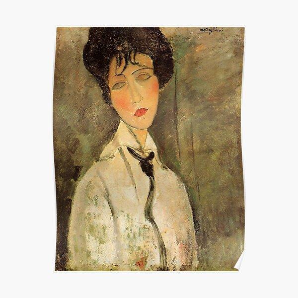 Portrait d'une femme à la cravate noire (1917) par Amedeo Modigliani Poster