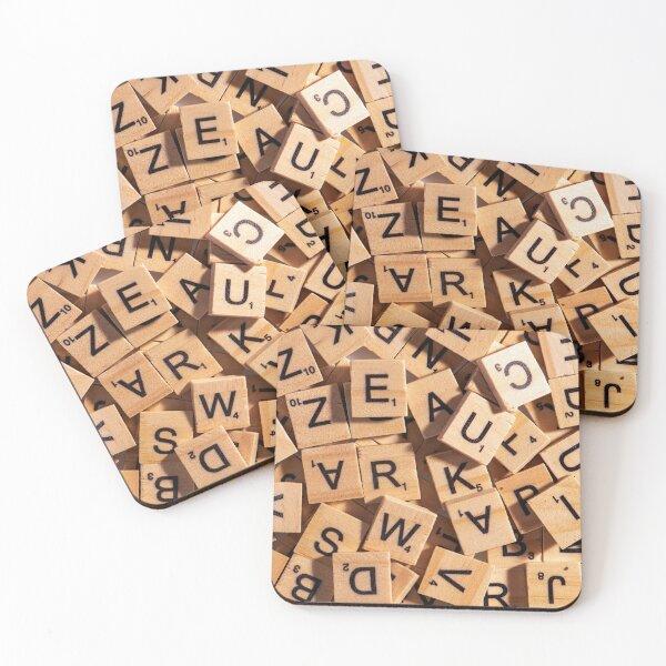Wooden Letter Tiles Coasters (Set of 4)